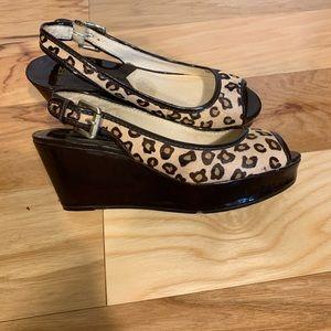 Micheal Kors calf hair leopard print wedges. 7.5